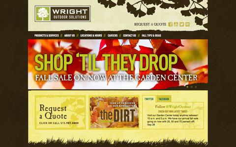Screenshot of Home Page wrightoutdoorsolutions.com - Landscaping, Tree Care | Des Moines, IA | Wright Outdoor Solutions - captured Sept. 30, 2014