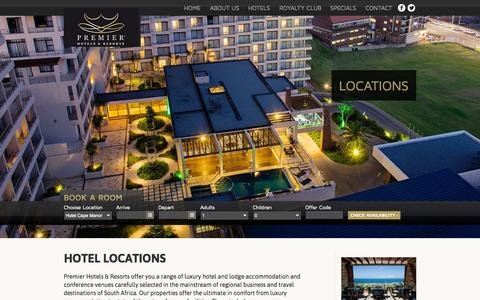 Screenshot of Locations Page premierhotels.co.za - Locations | - captured Sept. 24, 2014