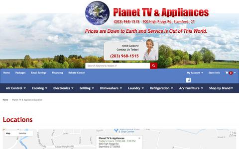 Screenshot of Contact Page Locations Page planettv.com - Planet TV & Appliances - Appliances, Electronics in Stamford, Darien and Norwalk CT - captured Sept. 25, 2018