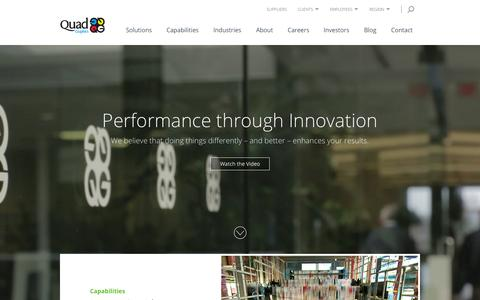 Screenshot of Home Page qg.com - Commercial Printing - Print Services   Quad/Graphics - captured Oct. 5, 2015