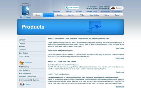 Screenshot of Products Page webcrs.com - WebCRS, online hotel reservation software, hotel reservation system, reservation software, online reservation software, reservation software system - captured Oct. 1, 2014