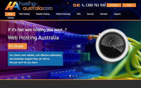 Screenshot of Home Page hosting-australia.com - Web Hosting Australia - captured July 16, 2016