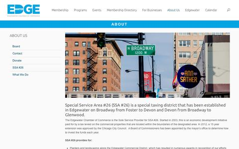 Screenshot of About Page edgewater.org - About | Edgewater Chamber of Commerce - captured Sept. 27, 2018