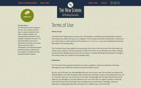 Screenshot of Terms Page tnsatlanta.org - Terms of Use | The New School - captured Oct. 6, 2014