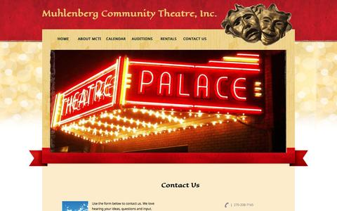 Screenshot of Contact Page mctiky.org - Muhlenberg Community Theatre - captured June 24, 2016