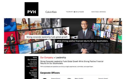 Screenshot of Team Page pvh.com - Our Company - Leadership - captured Oct. 30, 2014
