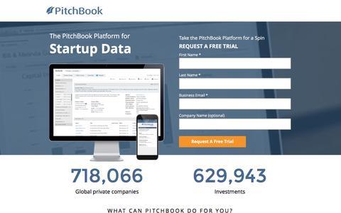 Screenshot of Landing Page pitchbook.com captured Feb. 8, 2017