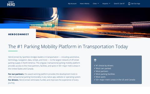 Screenshot of Developers Page spothero.com - HeroConnect: Parking Mobility Platform, Parking API, SDK & Widget | SpotHero - captured May 29, 2018