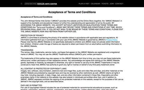 Screenshot of Terms Page jmkac.org - Terms of Use - John Michael Kohler Arts Center - captured Oct. 16, 2017