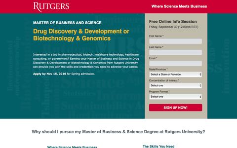 Screenshot of Landing Page rutgers.edu - Drug Discovery & Development or Biotechnology & Genomics | Master of Business & Science | Rutgers University - captured Sept. 29, 2016