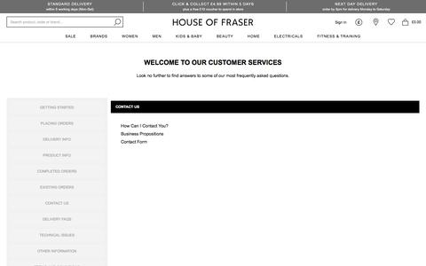 Screenshot of Contact Page houseoffraser.co.uk - Contact Us | House of Fraser - captured Jan. 17, 2020
