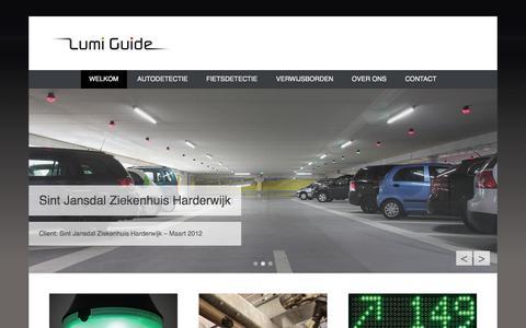 Screenshot of Home Page lumiguide.eu - Groen licht voor parkeergemak in parkeergarages _:: Lumi Guide Parkeerverwijssysteem:: Lumi Guide Parkeerverwijssysteem | voor parkeergarages en fietsenstallingen - captured Sept. 30, 2014