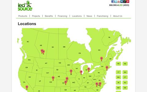 Screenshot of Locations Page ledsource.com - LED Source Locations in the US, Canada and Caribbean - captured Oct. 10, 2014