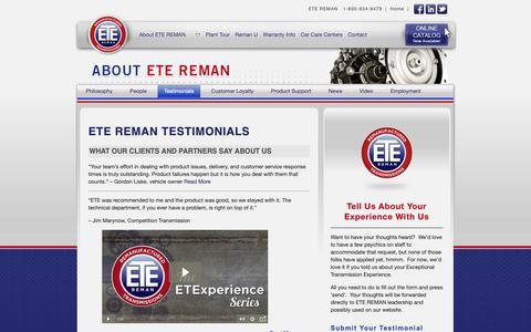 Screenshot of Testimonials Page etereman.com - ETE REMAN : Testimonials - captured Nov. 4, 2018