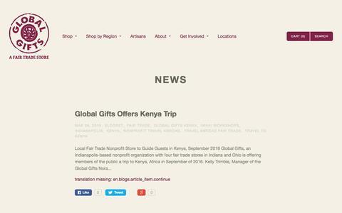Screenshot of Press Page globalgiftsft.com - News   Global Gifts - captured Nov. 7, 2016