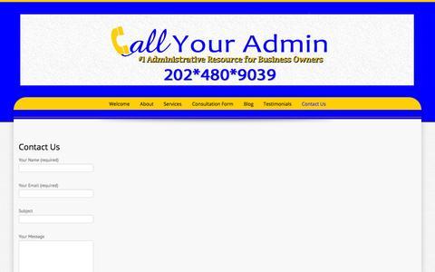 Screenshot of Contact Page callyouradmin.com - Contact Us | Call Your Admin - captured Sept. 27, 2014