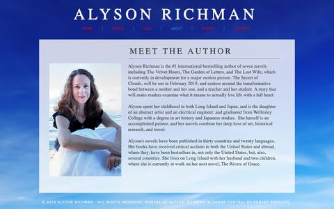 Screenshot of About Page alysonrichman.com - Alyson Richman   Author   The Lost Wife   The Last Van Gogh - captured Oct. 25, 2018
