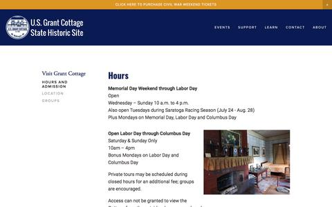 Screenshot of Hours Page grantcottage.org - Grant Cottage Hours and Admission Cost — U.S. Grant Cottage State Historic Site - captured July 6, 2018