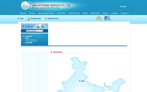Screenshot of Locations Page aryaoffshore.com - Locations of Arya Offshore Services Pvt. Ltd., India - captured Oct. 4, 2014