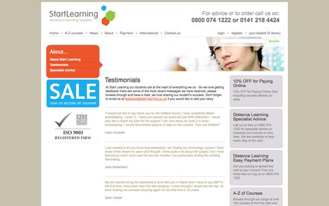 Screenshot of Testimonials Page start-learning.co.uk - Feedback - captured Sept. 26, 2014
