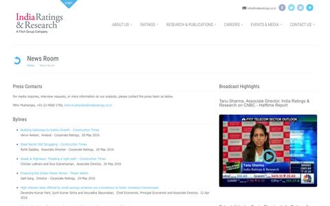 Screenshot of Press Page indiaratings.co.in - New Releases, Interviews: India Ratings & Research - captured Nov. 26, 2016