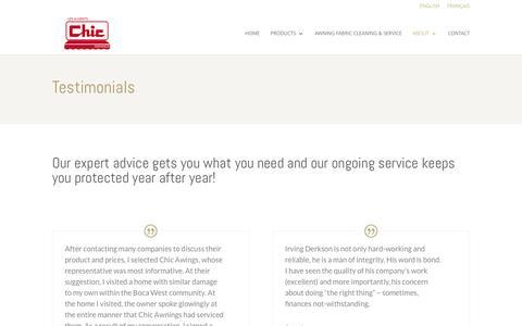 Screenshot of Testimonials Page chicawnings.com - Chic Awnings Customers Testimonials - captured July 12, 2016