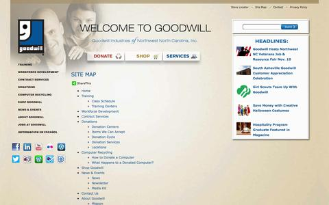 Screenshot of Site Map Page goodwillnwnc.org - Goodwill Industries of Northwest North Carolina, Inc. - captured Nov. 4, 2014