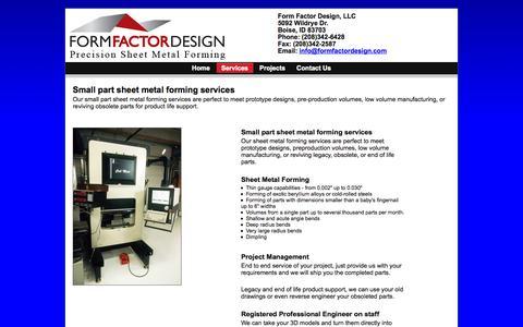 Screenshot of Services Page formfactordesign.com - Form Factor Design - Services - captured Oct. 6, 2014