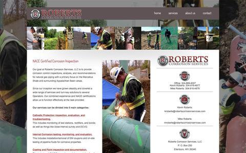 Screenshot of Services Page robertscorrosionservices.com - Services «  Roberts Corrosion Services, LLC - captured Dec. 6, 2016