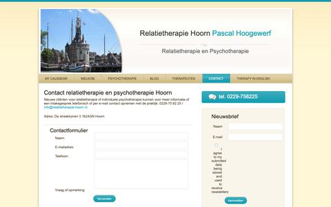 Screenshot of Contact Page relatietherapie-hoorn.nl - Contact | Relatietherapie en psychotherapie in Hoorn - captured Oct. 24, 2018