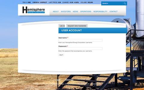Screenshot of Login Page hemisphereenergy.ca - User account | Hemisphere Energy Corporation - captured Jan. 28, 2016