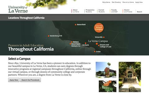 Screenshot of Locations Page laverne.edu - Select a Campus - Locations Throughout California - captured Oct. 9, 2017