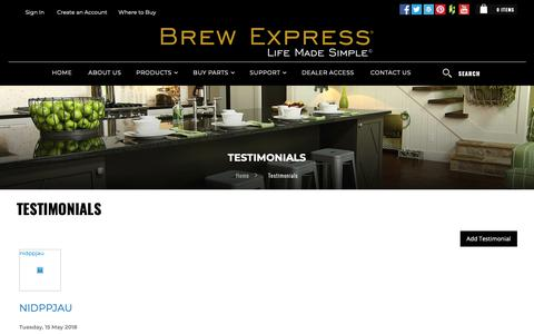 Screenshot of Testimonials Page brewexpress.com - Testimonials - captured Nov. 10, 2018