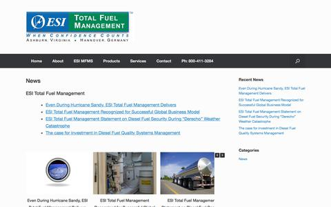 Screenshot of Press Page fuelmanagement.com - News - ESI Total Fuel Management - captured July 11, 2017