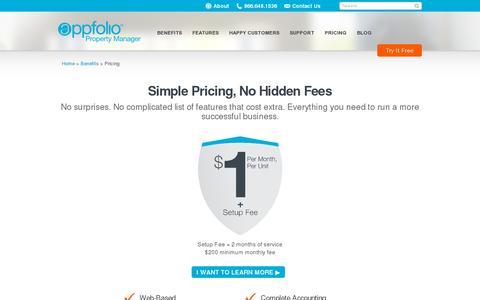 Screenshot of Pricing Page appfolio.com - Pricing for AppFolio's Property Management Software | AppFolio.com - captured July 20, 2014