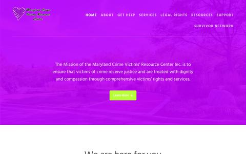 Screenshot of Home Page mdcrimevictims.org - Maryland Crime Victims Resource Center - Continuing the mission of the Stephanie Roper Committee and Foundation - captured Oct. 4, 2017