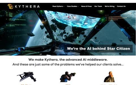 Screenshot of Home Page kythera.ai - Kythera - Cutting-Edge Games AI - captured Sept. 4, 2015