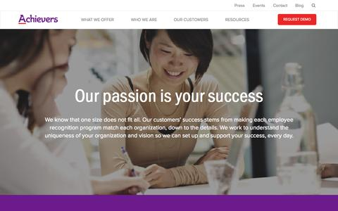 Screenshot of Services Page achievers.com - Increase Employee Performance and Employee Engagement | Employee Recognition and Employee Engagement Services | Achievers - captured Nov. 5, 2015