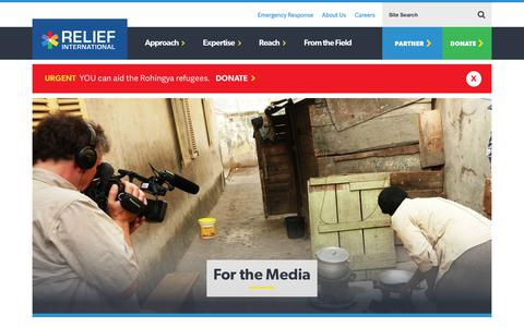 Screenshot of Press Page ri.org - For the Media   Relief International - captured Nov. 7, 2017