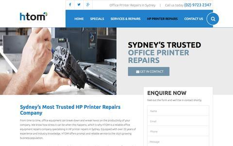 Screenshot of sydney-printerrepairs.com.au - HP Printer & Photocopier Repairs in Sydney | Call (02) 9723 2347 - captured April 3, 2016