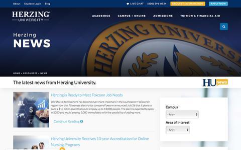 Screenshot of Press Page herzing.edu - Herzing University News and Updates - captured Aug. 7, 2017