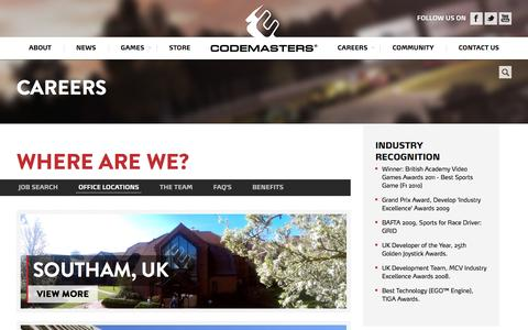 Screenshot of Locations Page codemasters.com - Where are we? - Codemasters - captured Jan. 29, 2016