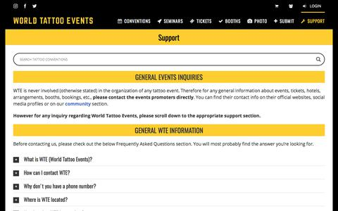 Screenshot of Support Page worldtattooevents.com - Contact Us - World Tattoo Events - captured June 25, 2017