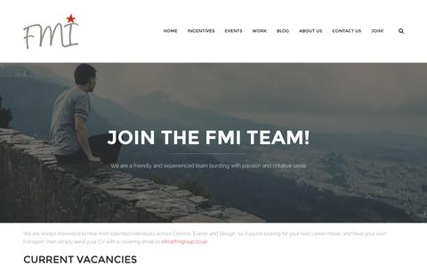 Screenshot of Signup Page fmigroup.co.uk - Join the FMI team! - FMI Group - captured Aug. 3, 2016