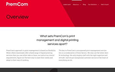 Screenshot of About Page premcom.co.uk - Overview - Premcom Print Management - captured Nov. 11, 2016