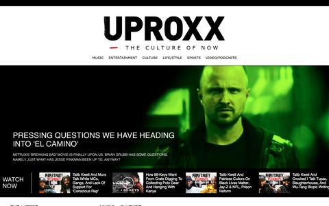 Screenshot of Home Page uproxx.com - UPROXX – The Culture Of Now - captured Oct. 11, 2019