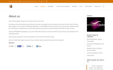 Screenshot of About Page virtualdesksupport.com - About Virtual Desk Support | Virtual Desk Support - captured Sept. 26, 2014