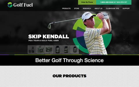 Screenshot of Home Page golffuel.com - Golf Fuel | Better Golf Through Science - captured Feb. 19, 2016