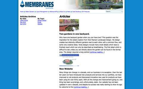 Screenshot of Case Studies Page membranes.com.au - Articles «  Membranes Australia - captured Oct. 27, 2014