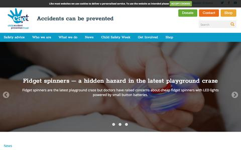 Screenshot of Press Page capt.org.uk - Child Accident Prevention Trust | News - captured July 29, 2017